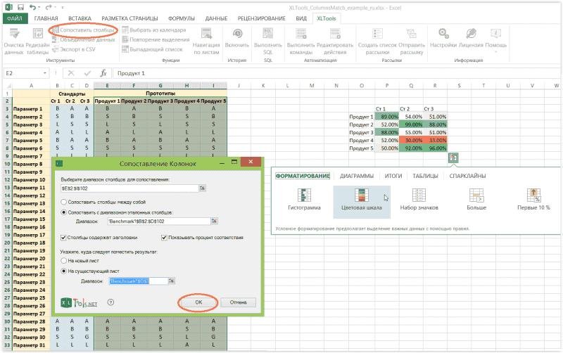 Сопоставление столбцов Excel c эталонными значениями и расчет процента соответствия