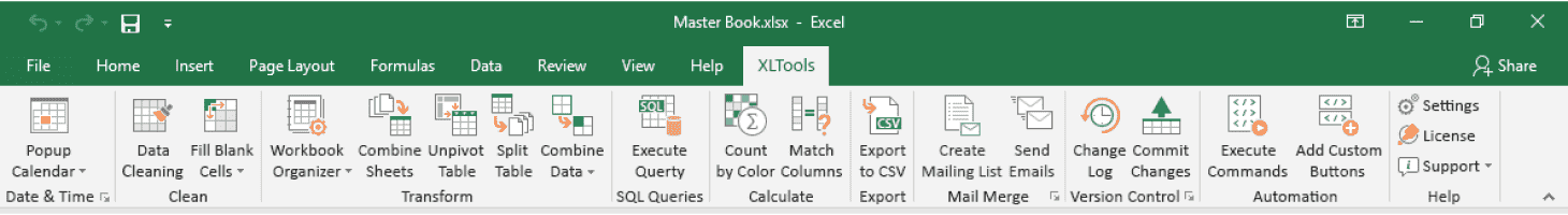 Get started with XLTools ribbon